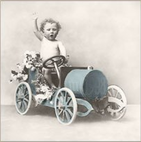 Serwetka do decoupage boy in car vintage